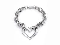Ocelová souprava náhrdelník, náramek a náušnice - srdce