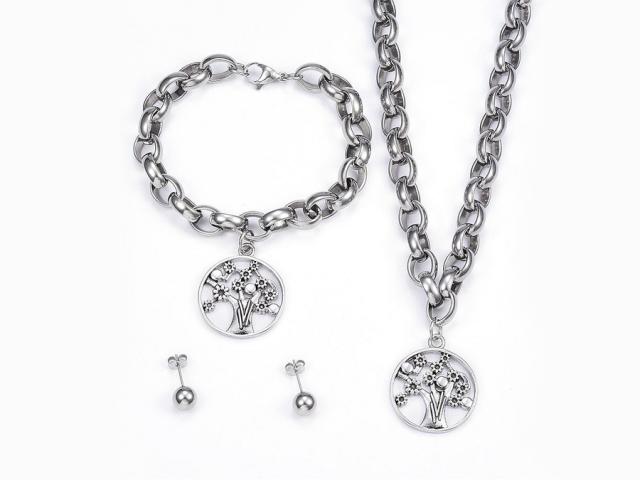 Ocelová souprava náhrdelník, náramek a náušnice - strom II