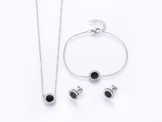 Ocelová souprava náhrdelník, náramek a náušnice Dial