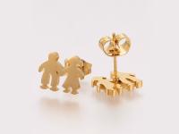 Ocelová souprava přívěsek a náušnice - dvojice - zlatá