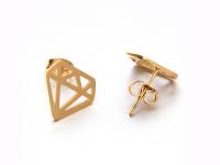 Ocelové náušnice Diamond - zlaté
