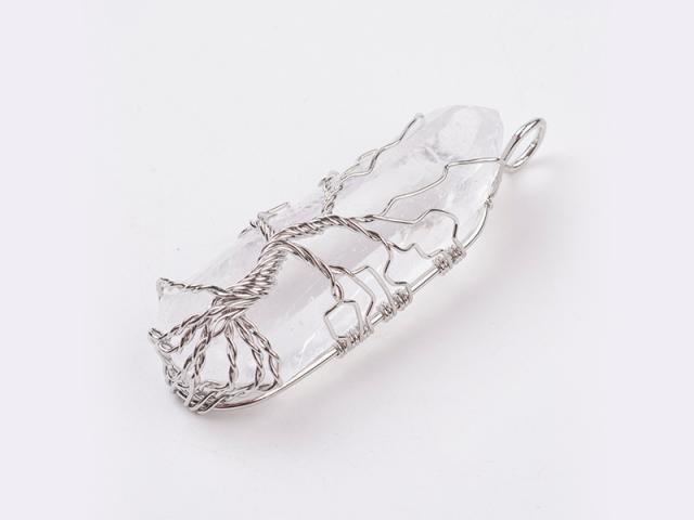 Drátovaný přívěšek stříbrný strom života - křišťál