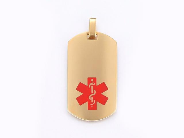 Ocelový podlouhlý ID přívěsek Medical - zlatý