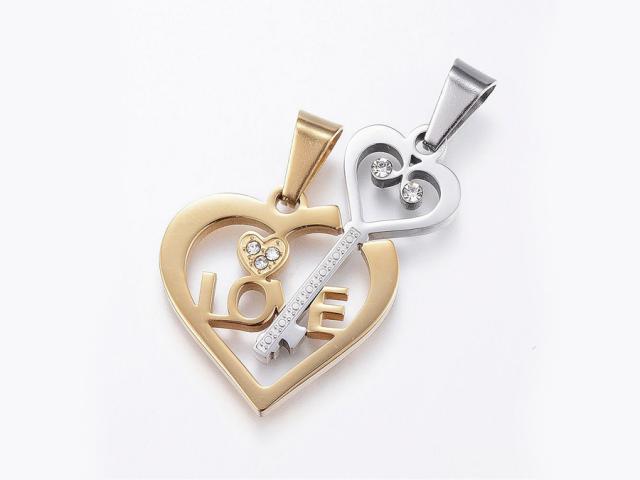 Ocelový dvojpřívěsek - klíč k srdci - stříbrný a zlatý