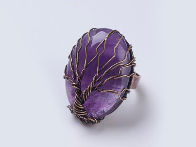 Nastavitelný drátovaný prsten ametyst a strom života