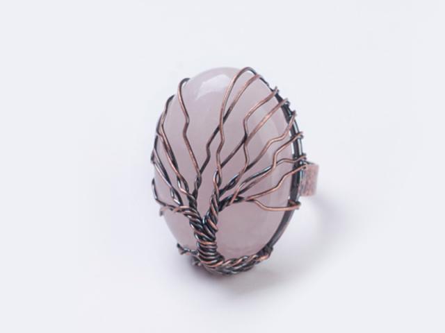 Nastavitelný drátovaný prsten růženín a strom života