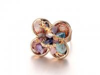 Nastavitelný prsten barevný křišťál ve tvaru květu - zlatý