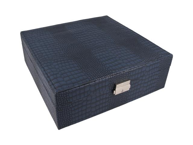 Modrá šperkovnice z ekokůže 260x90x260 mm